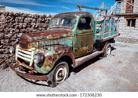 Rusty old truck, Uyuni, Bolivia - stock photo