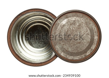 Rusty opened round tin box with lid isolated on white background  - stock photo