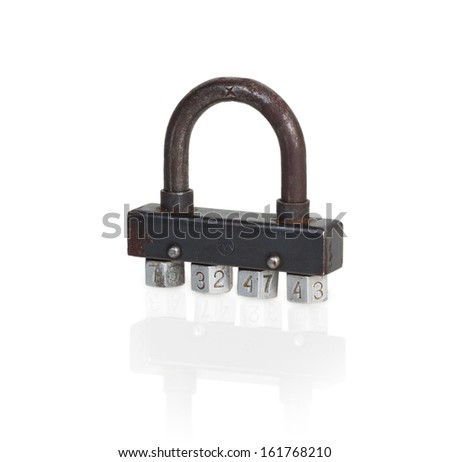 rusty padlock with combination lock isolated on white background - stock photo