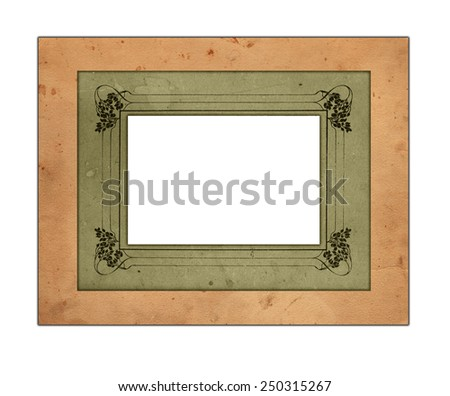 Rusty photo frame with floral ornament