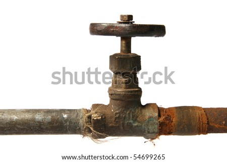 rusty pipe and valve isolated on white - stock photo