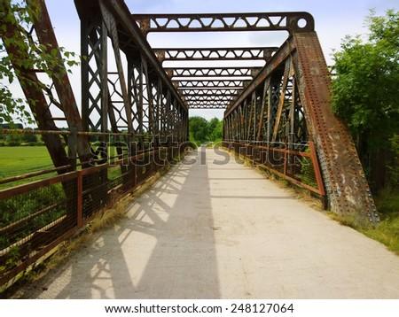 rusty railway bridge - disuse - stock photo