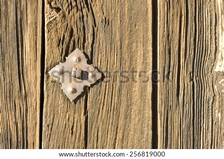Rusty rivet in wooden door - stock photo