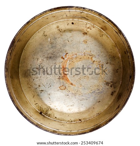 Rusty round metal tin can isolated on white - stock photo