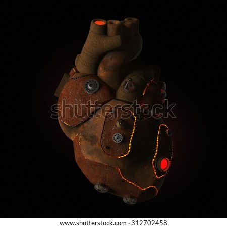 rusty steampunk metal techno human heart, burning from the inside, isolated on dark background. front view