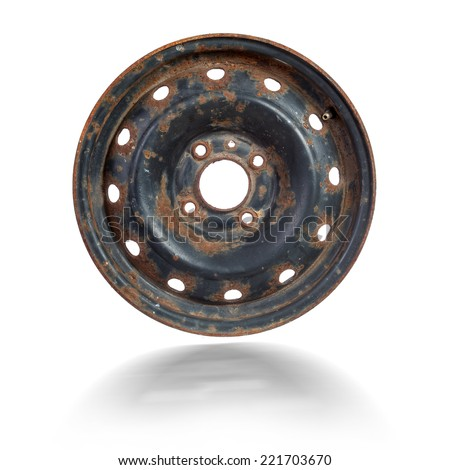 Rusty steel rim isolated over white background