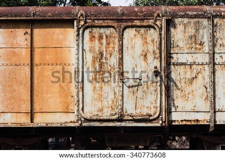Rusty train,rusty train bogie - stock photo