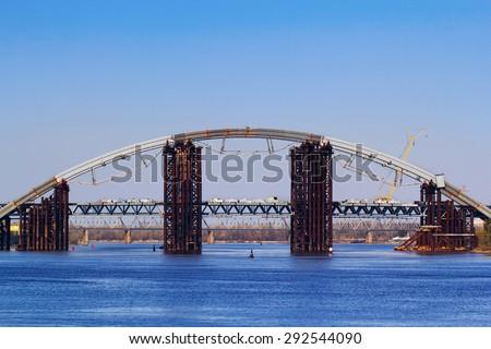Rusty unfinished bridge in Kiev, Ukraine - stock photo