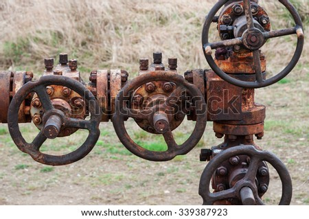 rusty valve, to transfer oil and gas to main pipe line