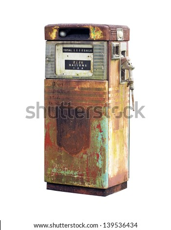 Rusty Vintage Fuel Pump - stock photo