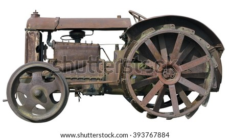 Rusty  vintage  small rural  no name tractor. The metal equipment is made more than hundred years ago. Mass production. Isolated - stock photo