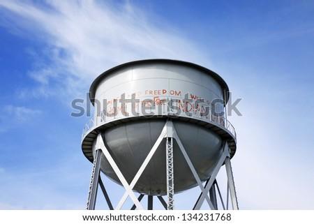 Rusty Water Tank in Alcatraz, San Francisco, USA - stock photo
