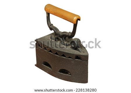 rusty weathered iron with charcoal, vintage object isolated over white background - stock photo