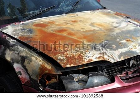 Rusty Zinc grunge on car - stock photo