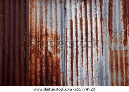 rusty zinc plate wall for background / texture - stock photo