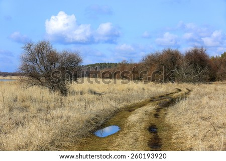 Rut road among spring steppe - stock photo