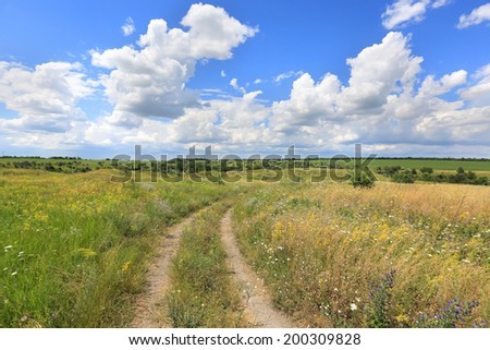 rut rural road aver meadow in steppe - stock photo