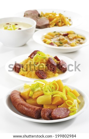 Rutabaga vegetables with meat, various dishes - stock photo