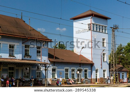 RUZOMBEROK, SLOVAKIA - June 4: Exterior view of the main railway station in Ruzomberok, Slovakia on June 4, 2015. It was opened on December 8, 1871.