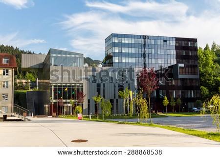RUZOMBEROK, SLOVAKIA - June 3: View to the catholic university, a famous and historical building on June 3, 2015. Ruzomberok is a town in northern Slovakia, in the historical Liptov region. - stock photo