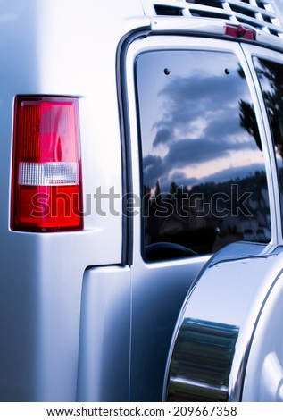 RV Rear End Vehicle Windows and Doors - stock photo