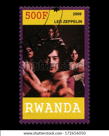 RWANDA, AFRICA - CIRCA 2009: A postage stamp from Rwanda of legendary band 'Led Zeppelin', circa 2009. - stock photo