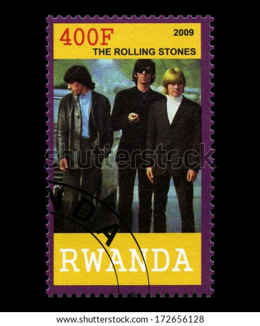 RWANDA, AFRICA - CIRCA 2009: A postage stamp from Rwanda of The Rolling Stones, circa 2009. - stock photo