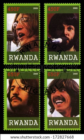 RWANDA, AFRICA - CIRCA 2009: Postage stamps from Rwanda each portraying an image of a member of The Beatles, circa 2009. - stock photo