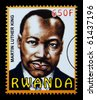 RWANDA - CIRCA 2000: A postage stamp printed in Rwanda showing Martin Luther King, circa 2000 - stock photo