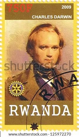 RWANDA - CIRCA 2009: A postage stamp printed in the Republic of Rwanda showing Charles Darwin, circa 2009 - stock photo