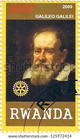 RWANDA - CIRCA 2009: A postage stamp printed in the Republic of Rwanda showing Galileo Galilei, circa 2009 - stock photo