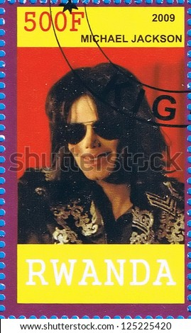 RWANDA - CIRCA 2009: A postage stamp printed in the Republic of Rwanda showing Michael Jackson, circa 2009 - stock photo