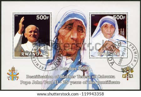 RWANDA - CIRCA 2003: A stamp printed in Rwanda shows Beautification of Mother Teresa of Calcutta and Pope John Paul II - 25th Anniversary of the Pontificate, circa 2003 - stock photo