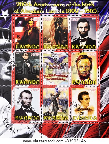 RWANDA - CIRCA 2009: A stamp printed in Rwanda shows image Abraham Lincoln ), the 16th President of the United States, serie, circa 2009.