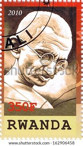 RWANDA - CIRCA 2010: A stamp printed in Rwanda shows Mahatma Gandhi, series, circa 2010 - stock photo