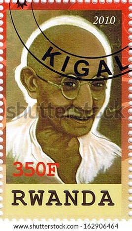 RWANDA - CIRCA 2010: A stamp printed in Rwanda shows Mahatma Gandhi, series, circa 2010 - stock photo