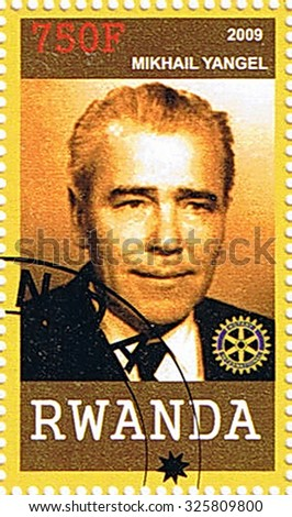 RWANDA - CIRCA 2009: A stamp printed in Rwanda shows Mikhail Yangel, series, circa 2009 - stock photo