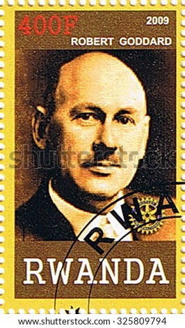 RWANDA - CIRCA 2009: A stamp printed in Rwanda shows Robert Goddard, series, circa 2009 - stock photo