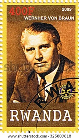 RWANDA - CIRCA 2009: A stamp printed in Rwanda shows Wernher Von Braun, series, circa 2009 - stock photo