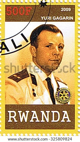 RWANDA - CIRCA 2009: A stamp printed in Rwanda shows Yuri Gagarin, series, circa 2009 - stock photo