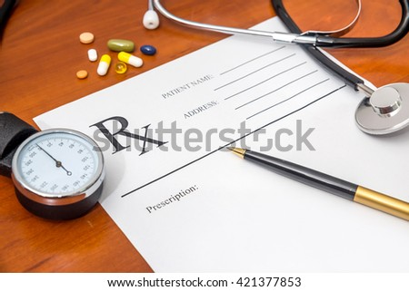 RX Blank prescription, stethoscope, drug  and pen