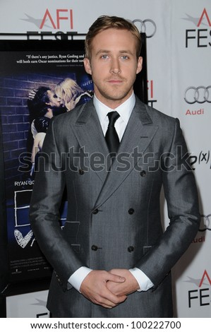 "Ryan Gosling at the ""Blue Valentine"" Screening at AFI Fest 2010, Chinese Theater, Hollywood, CA. 11-06-10 - stock photo"