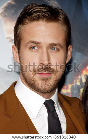 "Ryan Gosling at the Los Angeles premiere of ""Gangster Squad"" held at the Grauman's Chinese Theatre, Los Angeles, USA on January 7, 2013. - stock photo"