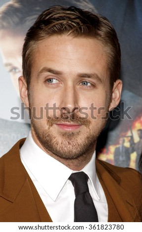 "Ryan Gosling at the Los Angeles premiere of ""Gangster Squad"" held at the Grauman's Chinese Theatre in Los Angeles, USA on January 7, 2013. - stock photo"