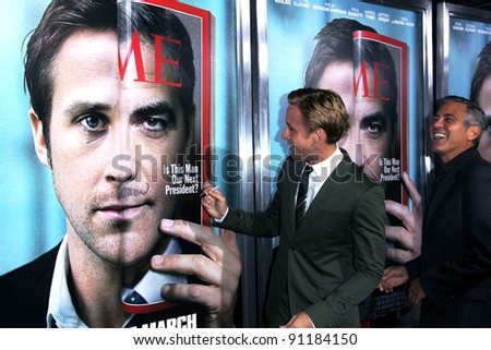 "Ryan Gosling, George Clooney at the ""The Ides Of March"" Los Angeles Premiere, Academy of Motion Picture Arts and Sciences, Beverly Hills, CA. 09-27-11"
