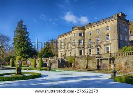 Rydal Hall and gardens on a frosty morning. - stock photo