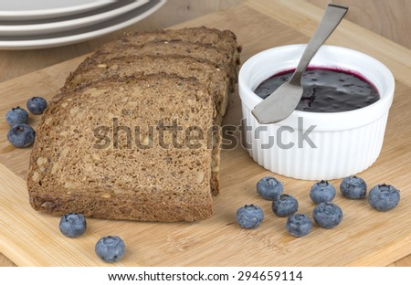 Rye bread and Blueberry jam - stock photo