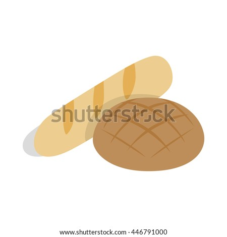 Rye bread and loaf icon in isometric 3d style on a white background - stock photo