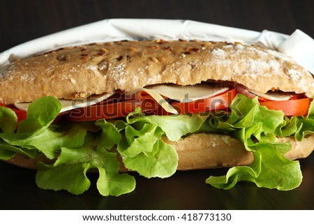 Rye bread ham cheese sandwich represent the food background and concept related idea. - stock photo