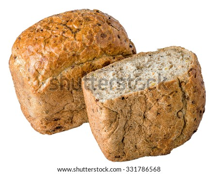 Rye bread isolated on a white background - stock photo